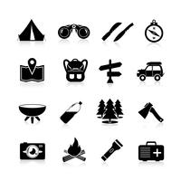 Camping pictogrammen zwart