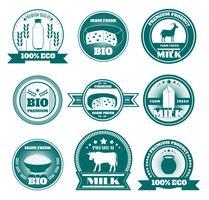 Eco boerderij melk zuivelproducten emblemen
