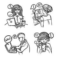 Mensen chatten met schets