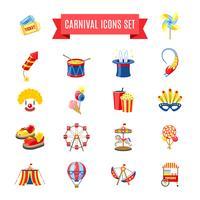 Carnaval-pictogrammen instellen vector