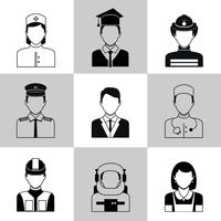 Beroepen avatar pictogrammen zwarte set vector
