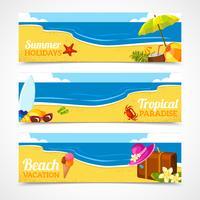 Banner set van zomer strand vector