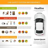 Autosveiligheidssysteem Infographics vector