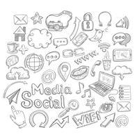 Doodle sociale pictogrammen