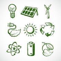 Groene energie schets iconen