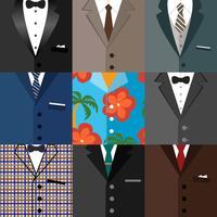 Zakelijke decoratieve pictogrammen set van kostuums