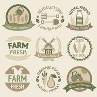 Landbouw oogst en landbouw labels vector
