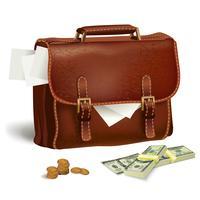 Lederen koffer met documenten en geld vector