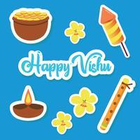 Vishu Sticker elementen Vector Pack