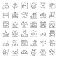 Pretpark pictogram en muntautomaat ritje, dunne lijn vector