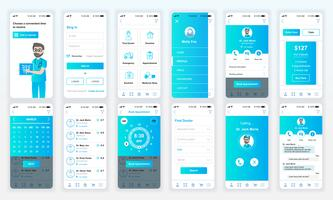 Set van UI, UX, GUI schermen Geneeskunde app platte ontwerpsjabloon voor mobiele apps, responsieve website wireframes. UI-kit voor webontwerp. Medicijndashboard.