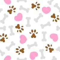 naadloze patroon ik hou van hond thema, bot en voet afdrukken vector