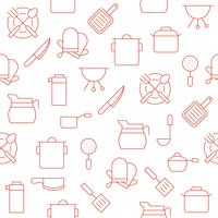 keukengerei zoals koffiepot, pot, handschoenen, steelpan vector