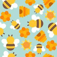 schattige bijen naadloze patroon voor behang of inpakpapier vector