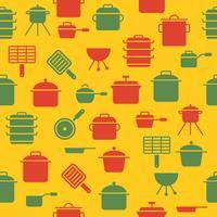 keuken gebruiksvoorwerp zoals pot saus pan naadloze patroon voor behang of inpakpapier vector