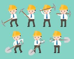 Zakenman en werknemer helm houden schop en pick bijl vector