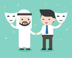 Arabische zakenman en zakenman schudden hand en open masker vector