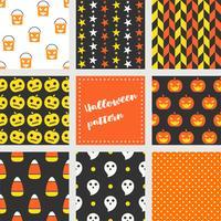 set van halloween naadloze patroon, platte ontwerp vector
