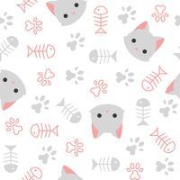 schattig kitten naadloze patroon, kattenliefhebber thema vector