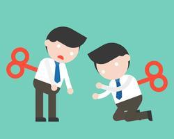 Opwinden Leuke zakenman of manager klaar om karakter te gebruiken vector