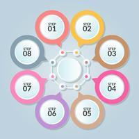 Infographicmalplaatje van cirkelverbinding voor gebruik in het diagram van het werkschemadiagram