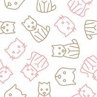 kat en hond schetsen naadloze patroon voor de achtergrond of inpakpapier vector