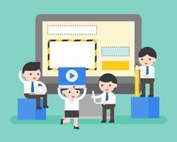 Mensen uit het bedrijfsleven helpen beheren website op laptop vector