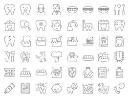 tandarts en tandheelkundige kliniek gerelateerde pictogram, dunne lijnstijl