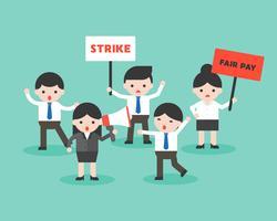 Groep van mensen uit het bedrijfsleven protest voor een eerlijke beloning, zakelijke situatie klaar voor gebruik