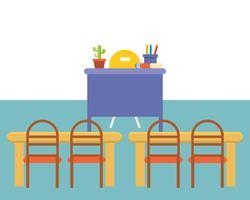 lege klaslokaal of studeerkamer binnenlandse achtergrond, vlak ontwerp vector
