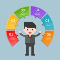 Infographicmalplaatje van stap of werkschemadiagram met zakenman