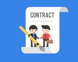 Twee uiterst kleine zakenman maakt een overeenkomstenovereenkomst, bedrijfsconcept vector