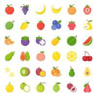 Schattig fruit platte pictogrammenset, zoals sinaasappel, kiwi, kokosnoot, banaan, papaja, perzik vector