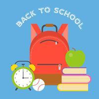 schooltas pictogram en schoolbenodigdheden, platte ontwerp terug naar schoolthema