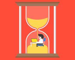 Zakenman die bij bureau in zandloper, tijdbeheerconcept werken vector