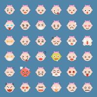 Leuke babymeisje emoticon set, vlakke stijl vector