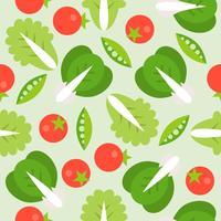 Sla, tomaat en soja naadloze patroon, plantaardige thema vlakke stijl vector