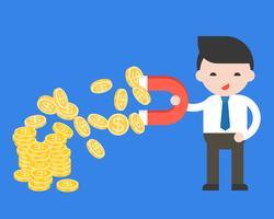De magneet van de zakenmangreep om een muntstuk van stapel muntstukken, rijk concept te trekken