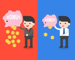 Spaarvarken van de zakenman het dragende bonus en gouden muntstukken, het concept van het besparingsgeld vector