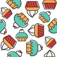 Cupcake naadloos patroon voor gebruik als achtergrond of inpakpapier gift vector