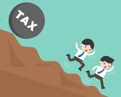 Zakenman twee die van rollende steen met belastingsalfabet het vallen loopt vector