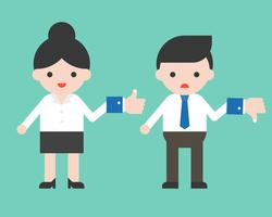 Leuke zakenman houden afkeer teken en zakenvrouw greep als teken, platte ontwerp vector