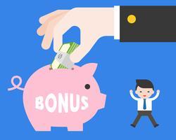 Uiterst kleine Bedrijfsmens die met geluk springen omdat grote hand die van werkgever bonus geeft vector