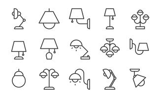 Lamp en lantaarn pictogramserie vector