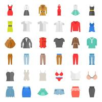 Vrouwelijke kleding, tas, schoenen en accessoires platte pictogrammenset 1 vector
