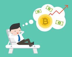 De zakenman legt op strandbed droomend over de waarde van de Bitcoinverhoging vector