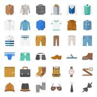 Mannelijke kleding en accessoires platte pictogrammenset 1 vector