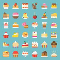 Snoepjes en dessert icon set, vlakke stijl vector