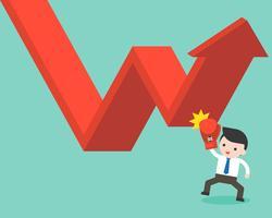 De grafiek van de zakenmanstempel omhoog, vector bedrijfssituatieconcept over crisis