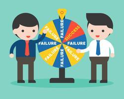 Zakenman en fortuinwiel, kans van succes in bedrijfsconcept